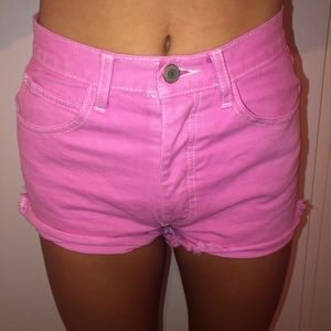 brandy melville pink denim shorts